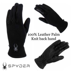 🆕 Spyder Leather/Knit Black Pair Gloves size M